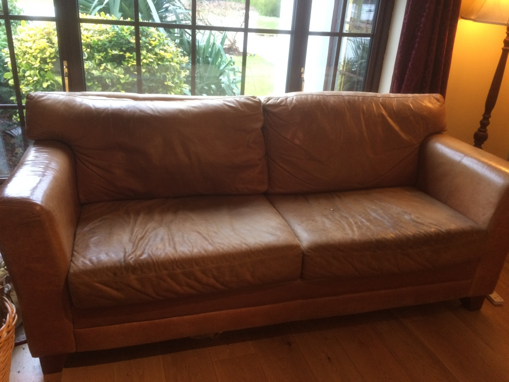 3 seater brown leather couch with 2 matching armchairs