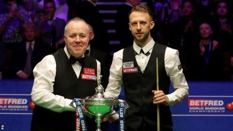 World Championship: John Higgins and Judd Trump tied at 4-4 at Crucible
