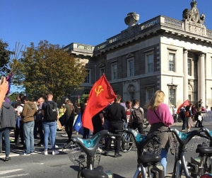 Communist Flags fly high at Climate Change Rally in Dublin