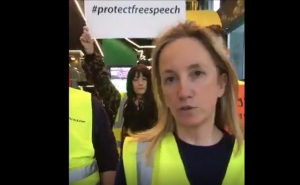 Google Protest : Gemma O'Doherty at Google HQ in Dublin