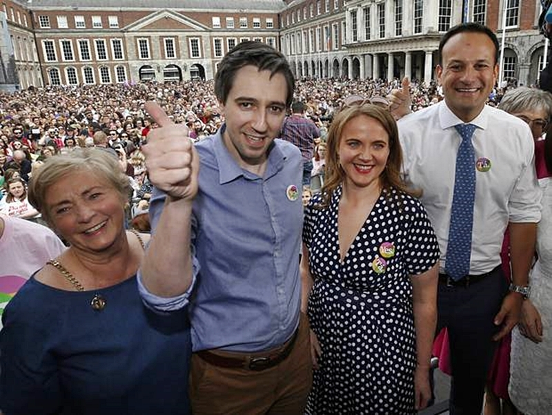 fitzgerald , harris , noone , varadkar , zappone celebrate abortion at Dublin Castle