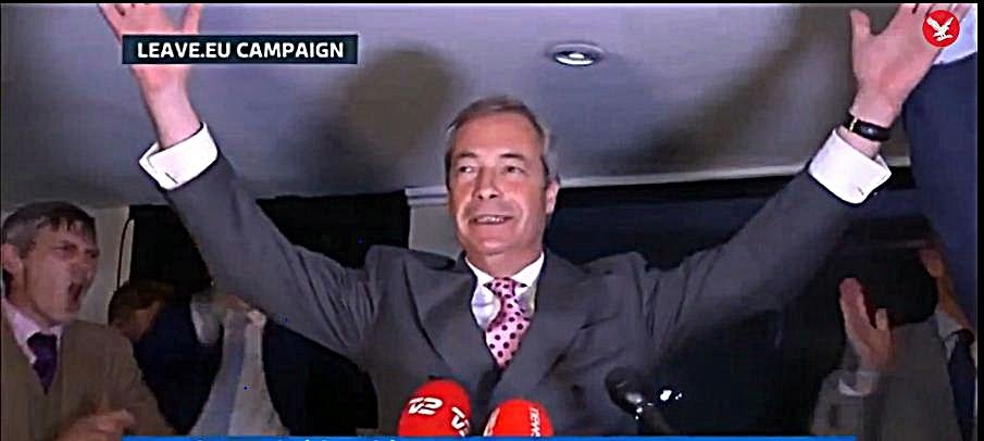 Leave Campaigner Nigel Farage Celebrates historic victory
