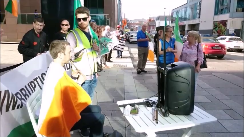 Tin Whistle Man plays O'Neills March at Google Protest in Dublin