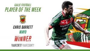 Mayo's Chris Barrett voted GAA.ie Footballer of the Week