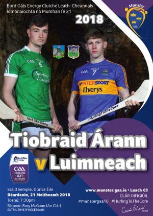 Bord Gais Energy Munster GAA Hurling Under 21 Championship Semi-Final – Tipperary 1-22 Limerick 1-13